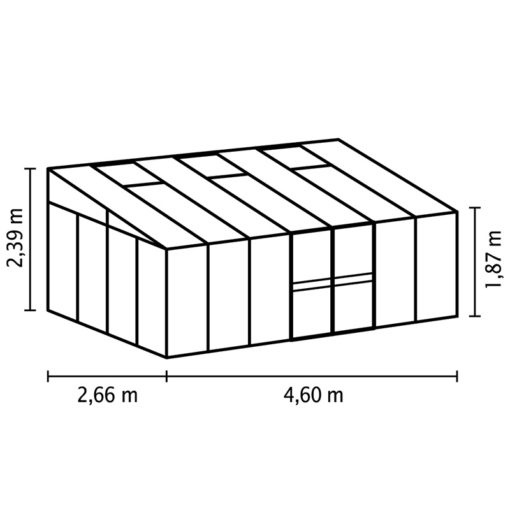 Kasvuhoone Vitavia Helena 11900 - 2,66m x 4,60m =12,24 m2