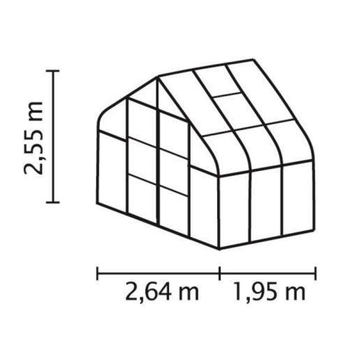 Kasvuhoone Vitavia Saturn 5000 - 2,64m x 1,95m =5,0 m2