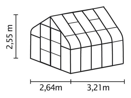 Kasvuhoone Vitavia Saturn 8300 - 2,64m x 3,21m =8,3 m2