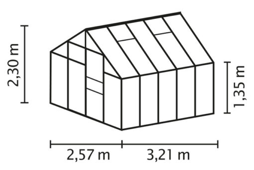 Kasvuhoone Vitavia Neptun 8300 -2,57m x 3,21m = 8,3 m²