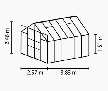 Kasvuhoone Vitavia Jupiter 8300 - 2,57m x 3,21m=8,3 m²