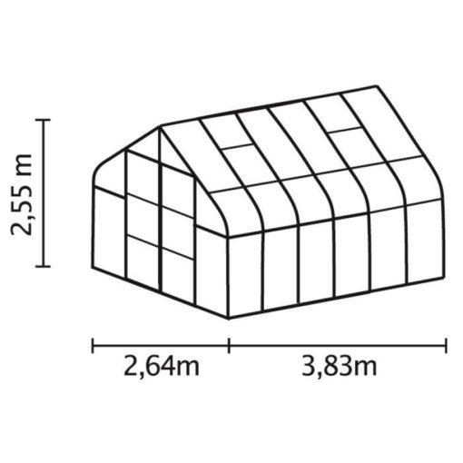 Kasvuhoone Vitavia Saturn 9900 - 2,64m x 3,84m =9,9 m2