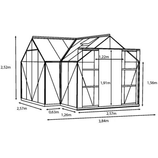 Aiapaviljon Vitavia Sirius H - 3,84m x 3,84m =13 m²