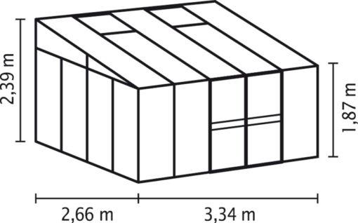Kasvuhoone Vitavia Helena 8600 - 2,66m x 3,34m =8,88 m2