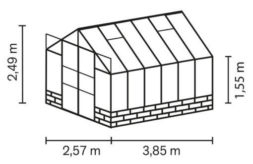Kasvuhoone Vitavia Cassandra 9900 - 2,57m x 3,85m =9,9 m²