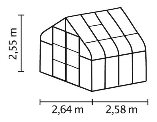 Kasvuhoone Vitavia Saturn 6700 - 2,64m x 2,58m =6,7 m2