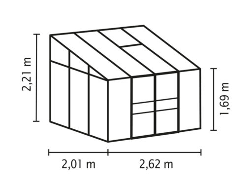 Seinaäärne kasvuhoone Vitavia Ida 5200 - 2,01m x 2,62m=5,2 m²